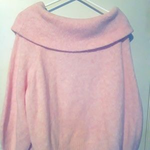 h&m pink off the shoulder sweater.
